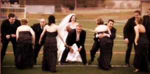 bridal-party-playing-football