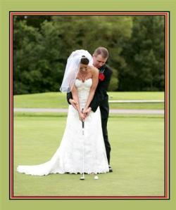 bride-and-groom-playing-golf